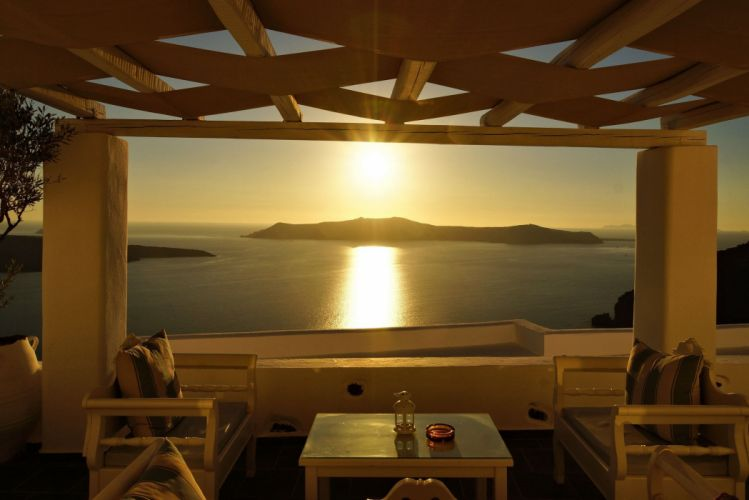 Greece resort vacation panorama ocean sea sunset reflection interior design wallpaper