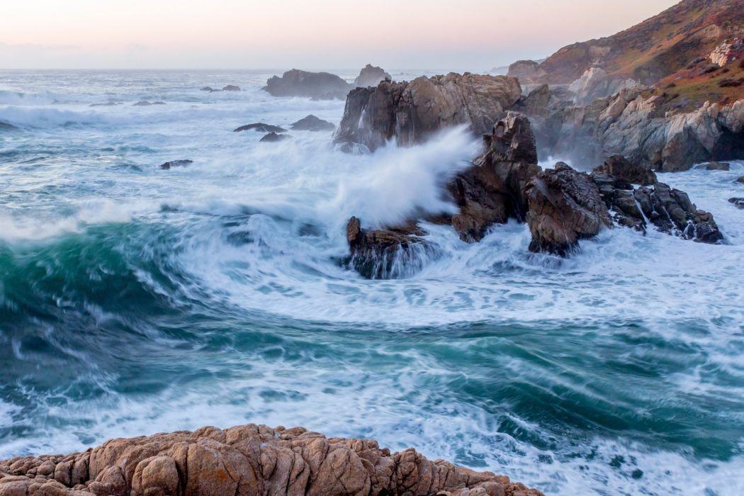 Garrapata State Park Big Sur California Pacific Ocean waves sea wallpaper