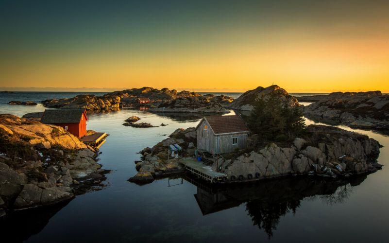 house sea rocks sun sunset ocean rustic wallpaper