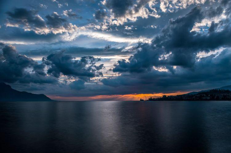 Lake Geneva Switzerland the city of Montreux sky clouds sunset sunrise wallpaper