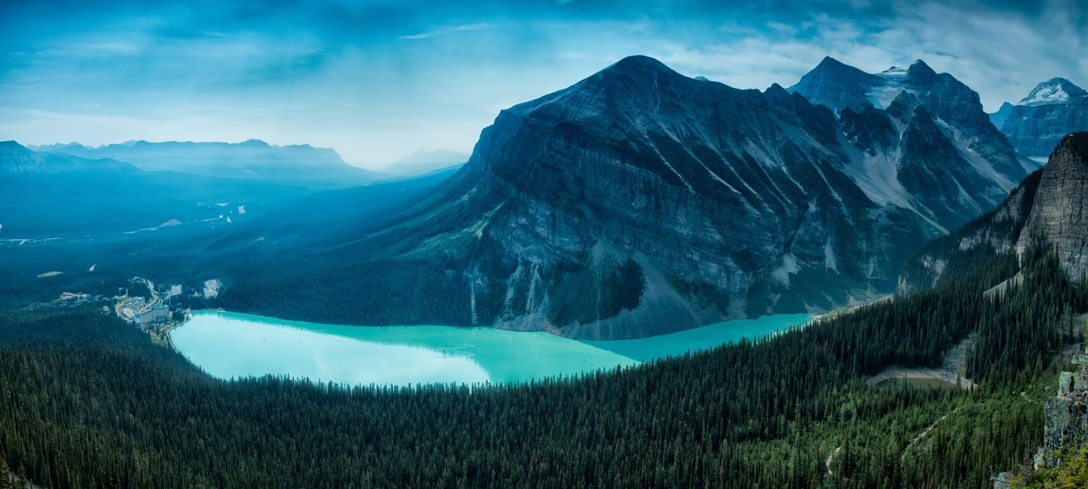 Lake Louise Alberta Canada mountains forest wallpaper