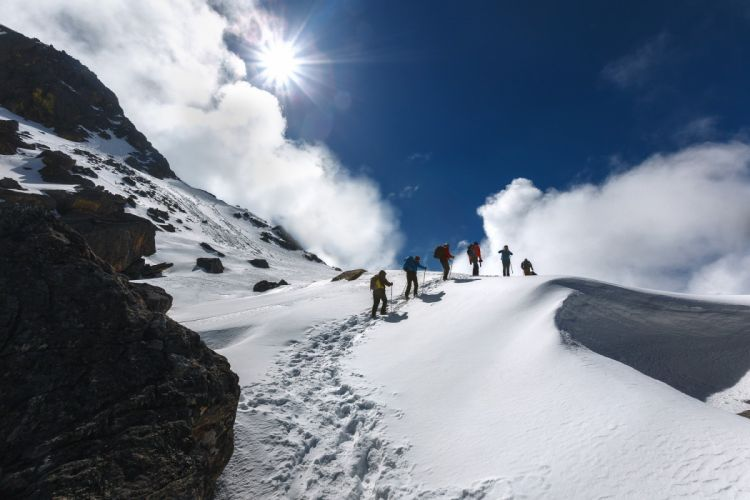 Nepal mountains clouds snow clouds tourists hiking winter people wallpaper