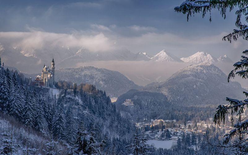 Neuschwanstein Castle Bavaria Germany winter wallpaper