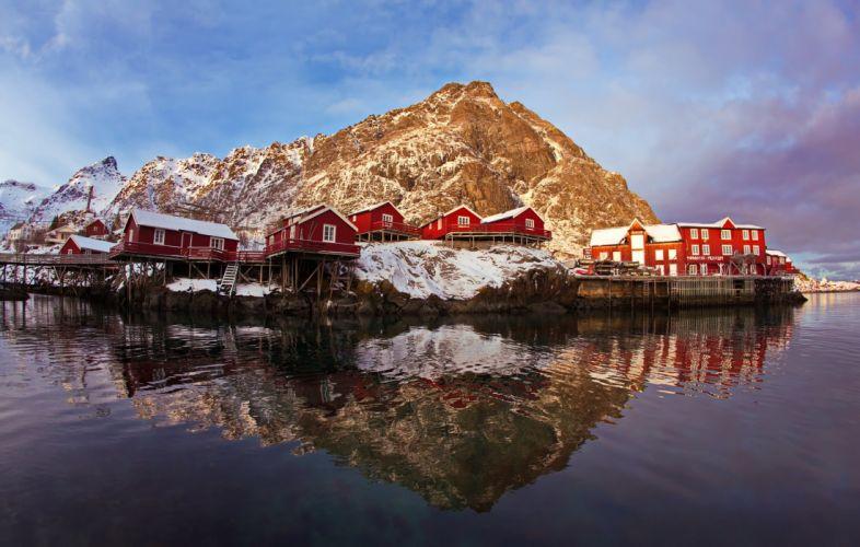 Norway Lofoten a village about house piles snow rocks wallpaper