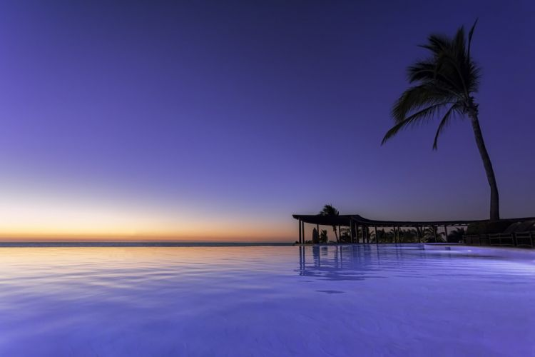 Porta Fortuna Nayarit Mexico Pacific Ocean palm sunset wallpaper