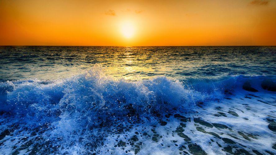 Peloponnese Greece Ionian Sea sea waves spray foam sunset ocean wallpaper