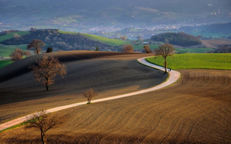 road field landscape hills people wallpaper