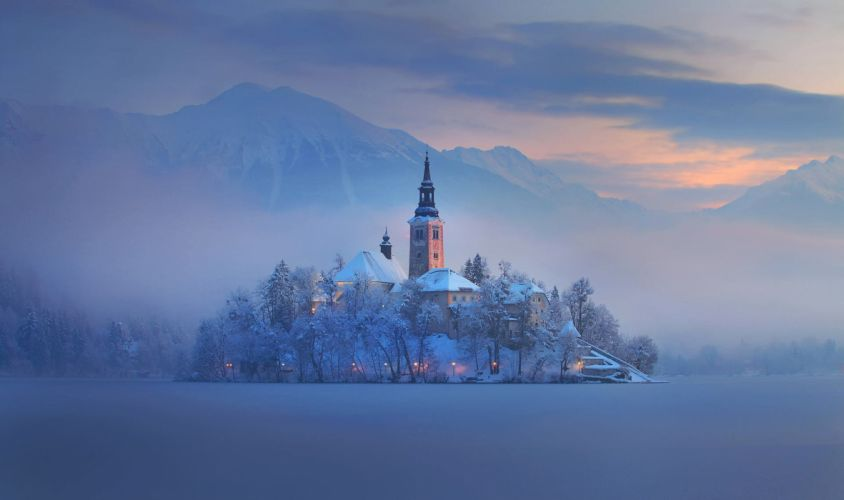 Slovenia Bled lake mountain island fog home church winter wallpaper