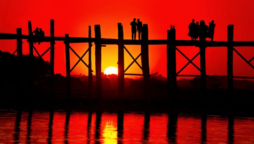 sunset river bridge people silhouette admire wallpaper