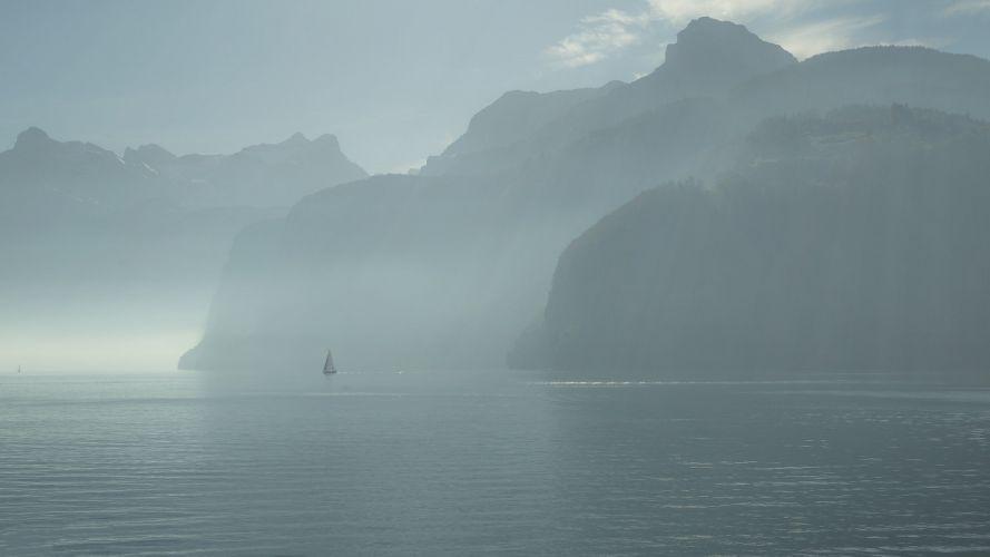 Switzerland Lake Lucerne sailing morning fog lake mountains nature landscape mood wallpaper