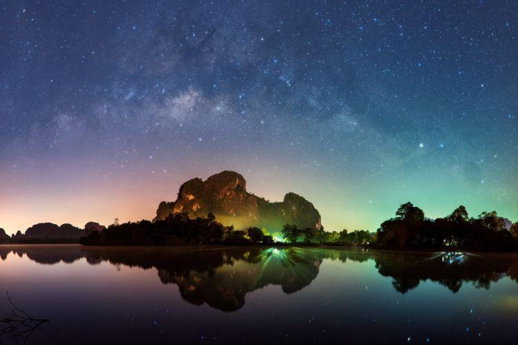 Thailand Krabi bay beach sea mountains sky night lights magic milky way stars reflection wallpaper
