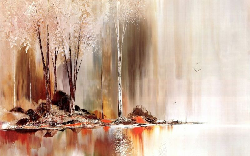 lake autumn art oil beautiful wallpaper