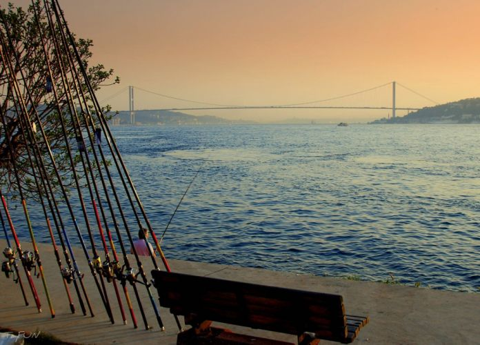 Istanbul Turkey sea landscape Bridge sunset fishing wallpaper