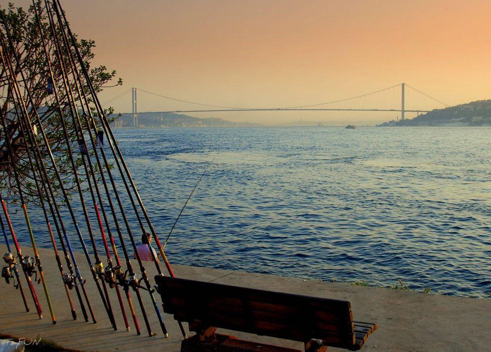 Istanbul Turkey sea landscape Bridge sunset fishing wallpaper