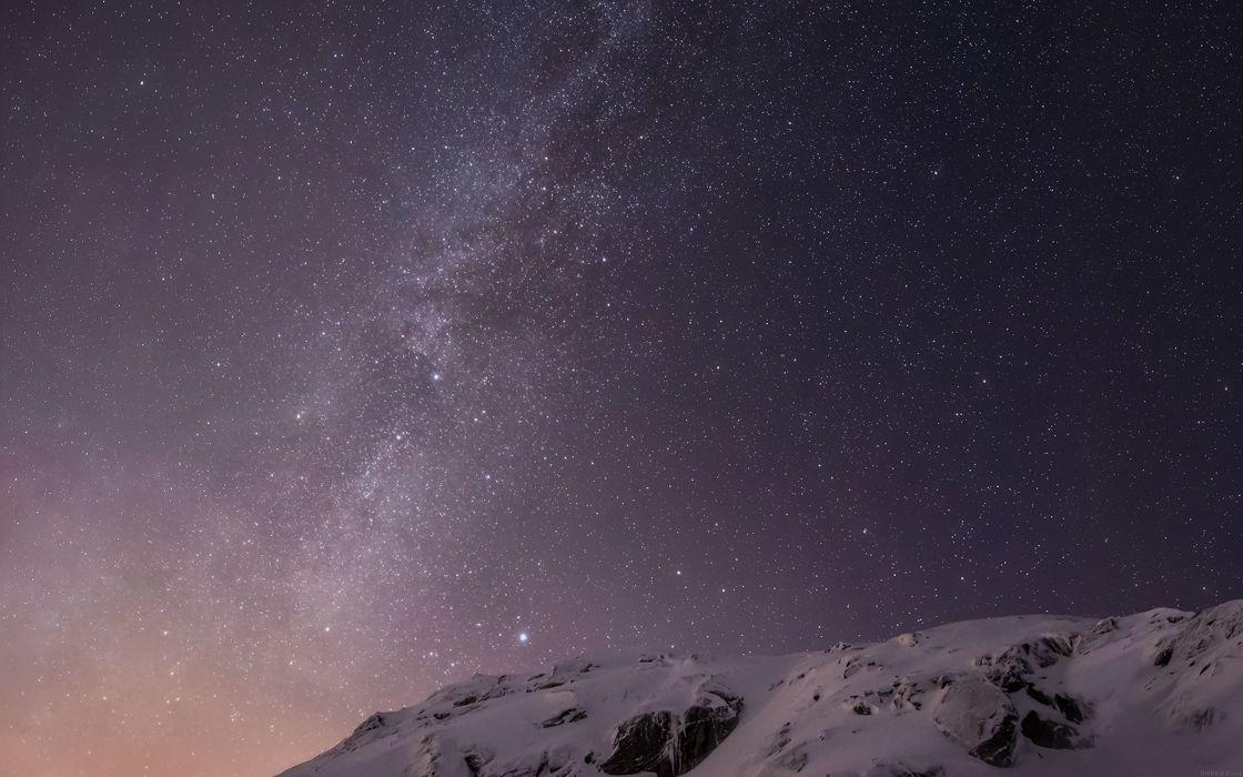 starry night mountain amazing beautiful snow wallpaper