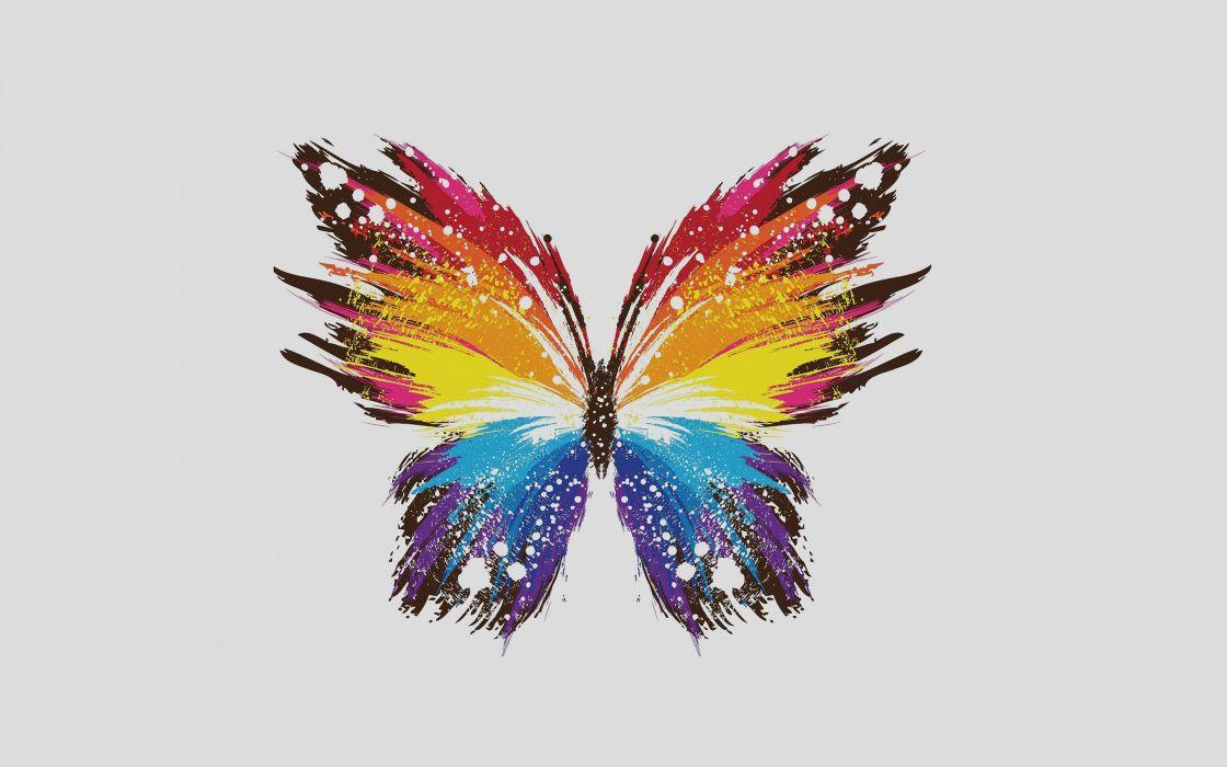 butterfly art illust cute minimal color wallpaper