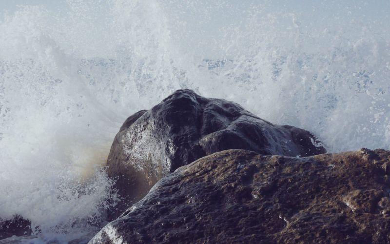 sea wave rock beach nature wallpaper