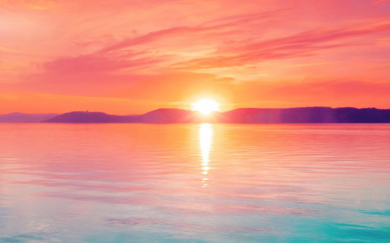 sunset night lake water sky red flare wallpaper