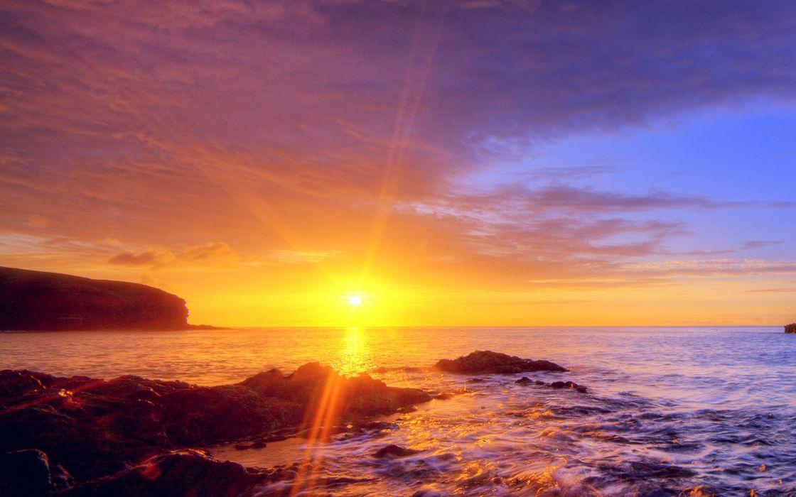 sunshine evening sunset beach rock nature wallpaper