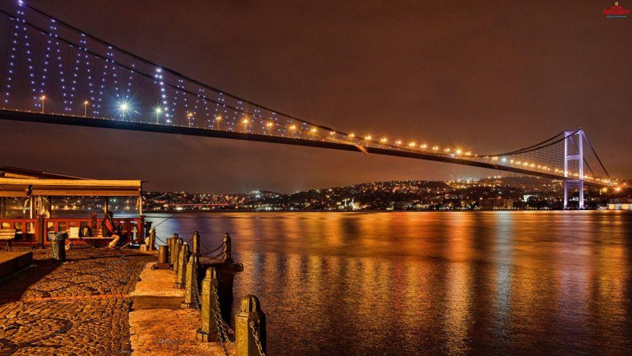 turkey city night light sea A wallpaper
