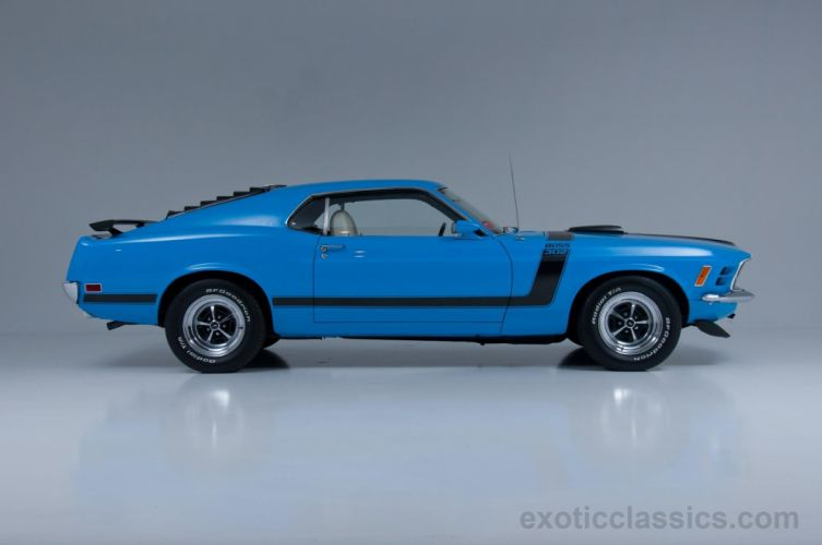 1970 Ford Mustang Boss 302 classic coupe blue wallpaper