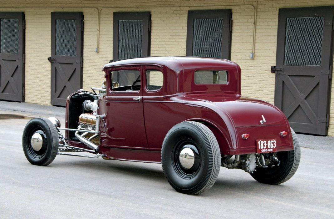 1930 Ford Model-A Coupe Five Window Hot Rod Street Custom Old School USA -02 wallpaper