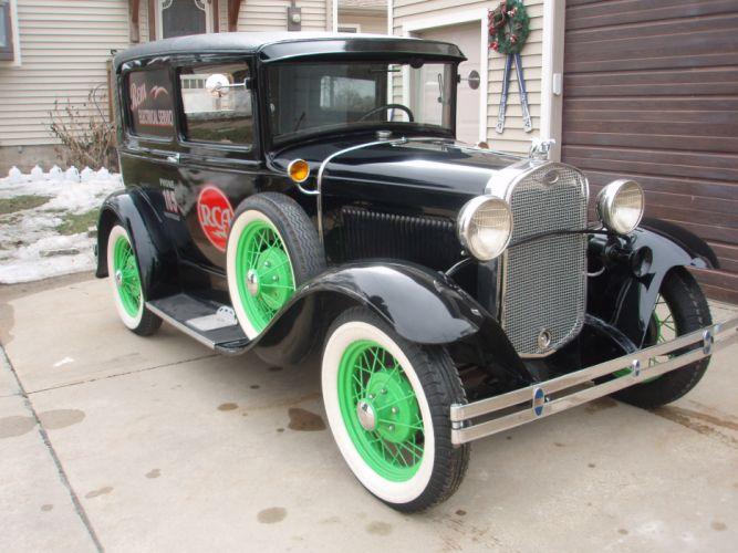 1930 Ford Model-A Sedan Delivery Classic Old Retro Vintage Original Black USA -01 wallpaper