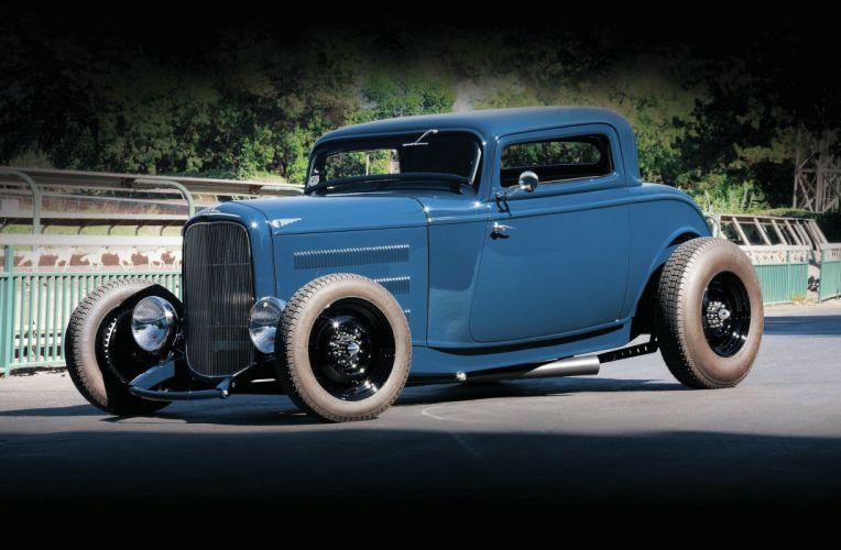 1932 Ford Coupe Three Window Hot Rod Street Custom Old School USA -01 wallpaper