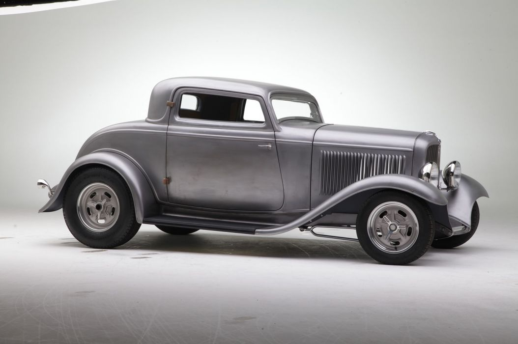1932 Ford Coupe Three Window Hot Rod Street USA -01 wallpaper