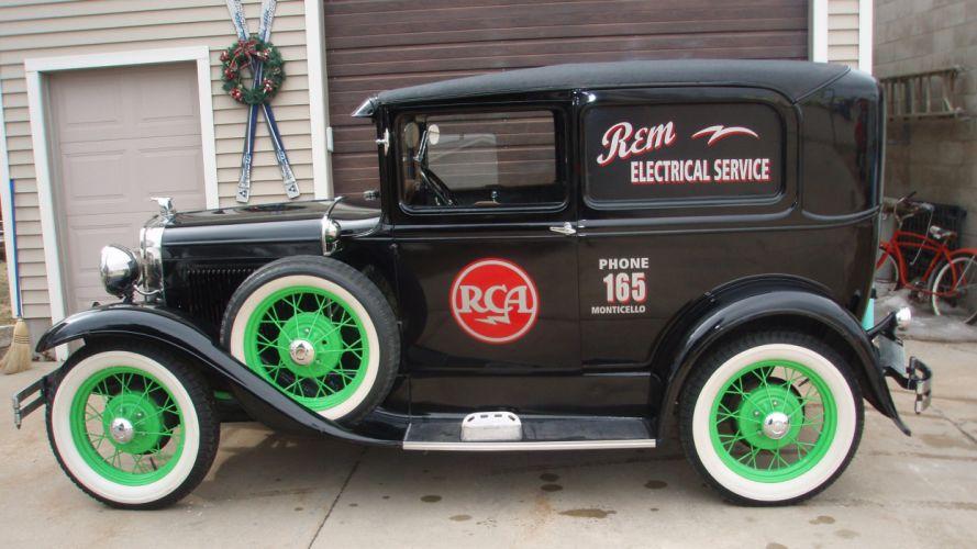 1930 Ford Model-A Sedan Delivery Classic Old Retro Vintage Original Black USA -04 wallpaper