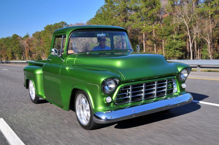 1955 Chevrolet Chevy 3100 Pickup Stepside Street Rod Hot USA -02 wallpaper