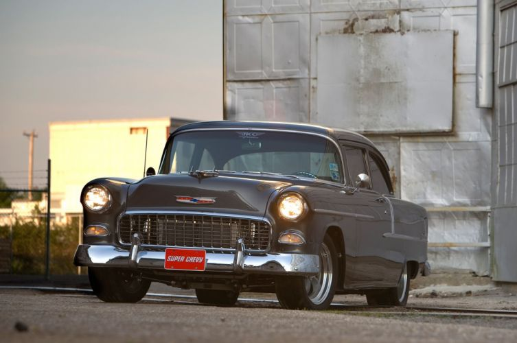 1955 Chevrolet Chevy Bel Air 210 Coupe Hot Rod Street Custom Muscle USA -06 wallpaper
