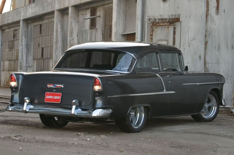 1955 Chevrolet Chevy Bel Air 210 Coupe Hot Rod Street Custom Muscle USA -10 wallpaper