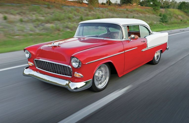 1955 Chevrolet Chevy Bel Air Coupe Hardtop Super Street Rod USA -01 wallpaper