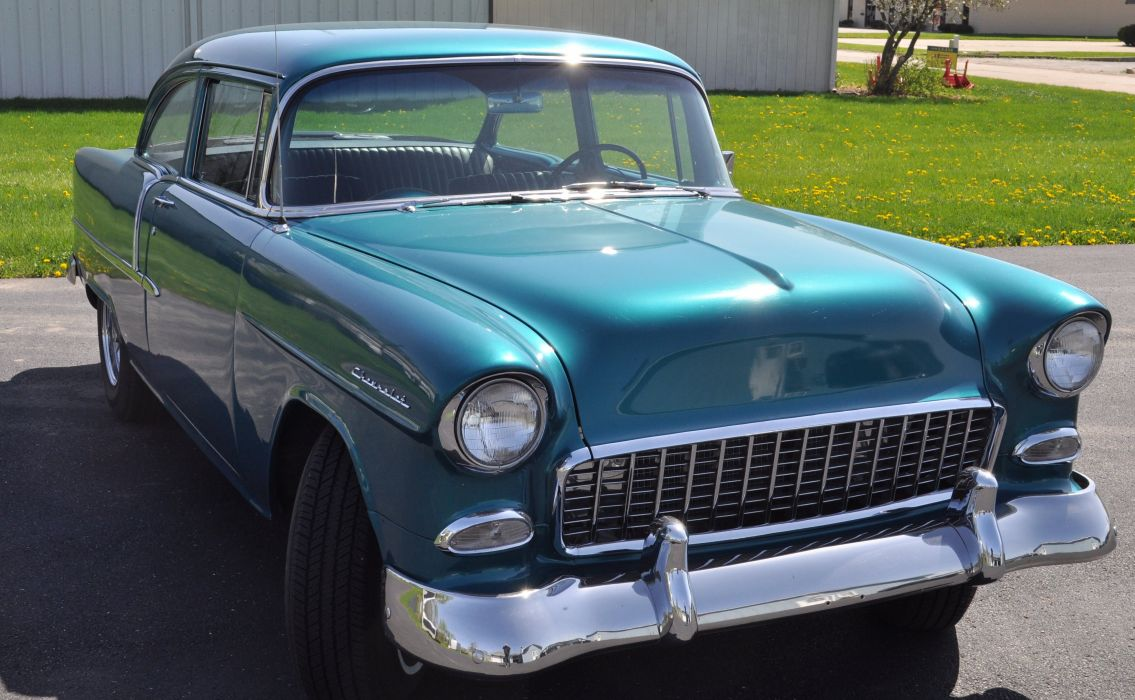1955 Chevrolet Chevy Bel Air 210 Coupe Hot Rod Street Custom Muscle USA -03 wallpaper