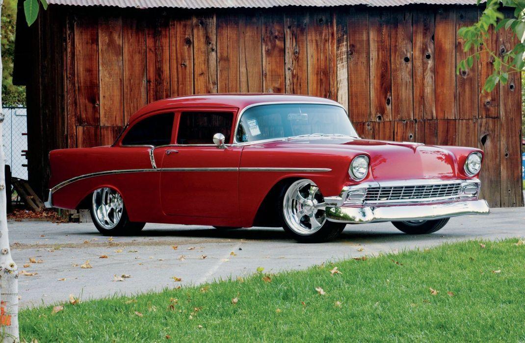 1956 Chevrolet Chevy 210 Bel Air Belair Coupe Streetrod Street Rod Hot USA -01 wallpaper