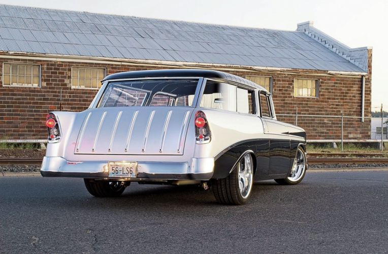 1956 Chevrolet Chevy Nomad Bel Air Coupe Hot Rod Street Custom Muscle USA -02 wallpaper