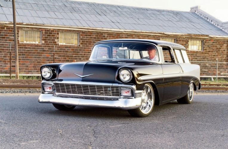 1956 Chevrolet Chevy Nomad Bel Air Coupe Hot Rod Street Custom Muscle USA -01 wallpaper