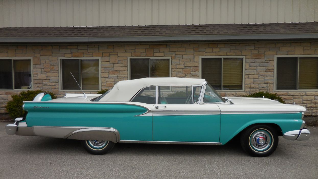 1959 Ford Galaxie Convertible Classic Old Retro Vintage Original USA -02 wallpaper