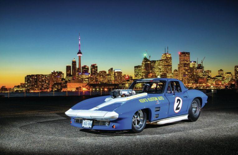 1966 Chevrolet Chevy Corvette Prostock Pro Stock Drag Race Dragster Blue USA-01 wallpaper