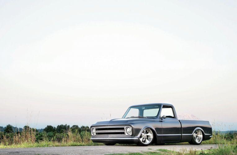 1968 Chevrolet Chevy C10 Fleetside Streetrod Street Hot Cruiser Lowered Low USA -01 wallpaper