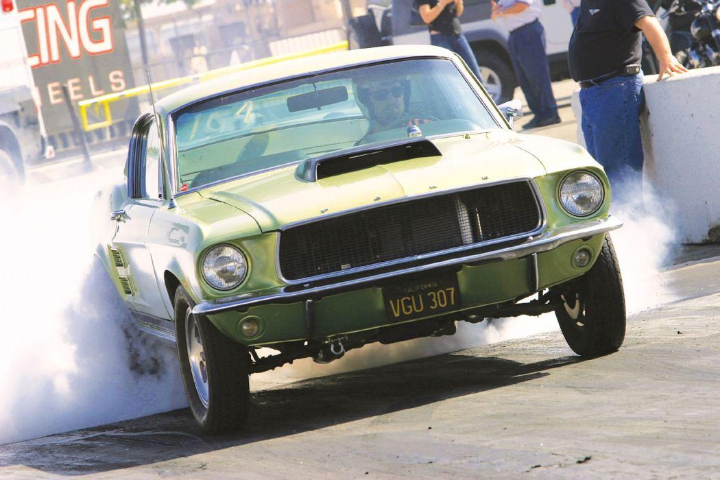 1968 Ford Mustang Prostock Pro Stock Drag Race Burnout USA -01 wallpaper