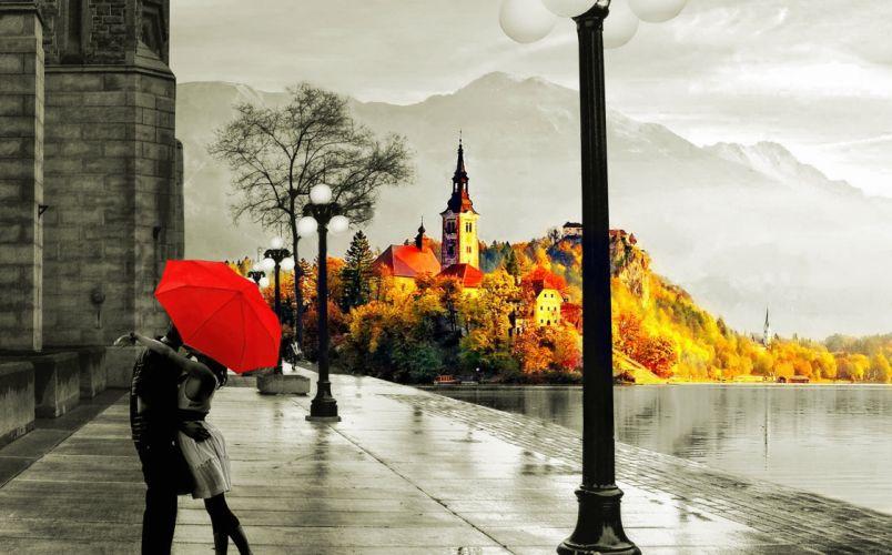 love autumn rain kiss lake wet street umberella wallpaper