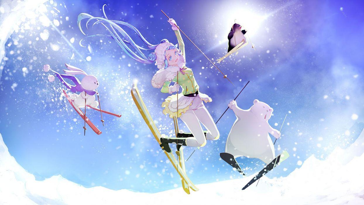 anime original girl beautiful cute vocaloid sky wallpaper