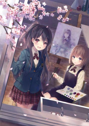 anime original girl beautiful cute school uniform girls friend wallpaper
