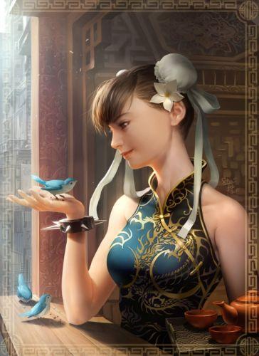 character chun-li street fight game girl bird realistic wallpaper