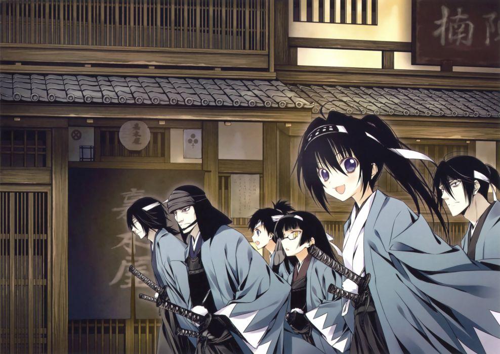 anime original girl beautiful cute samurai group wallpaper