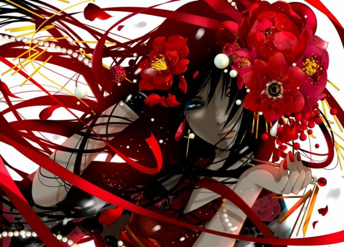 anime girl red pretty beautiful kimono cute wallpaper