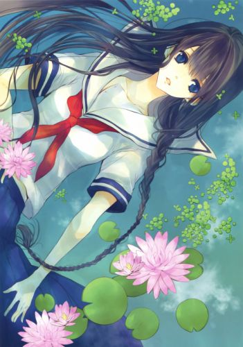 anime original girl beautiful cute lotus school uniform water flower wallpaper