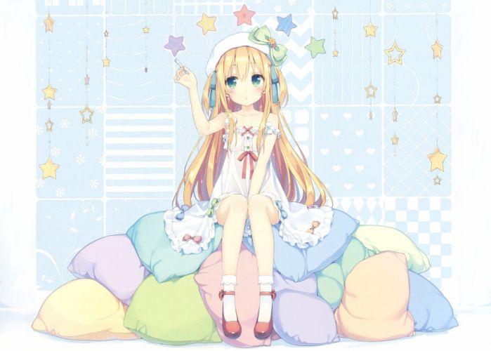 anime original girl beautiful cute dress blonde stars wallpaper